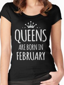 Queens are born in february gift xmas shirt Women's Fitted Scoop T-Shirt