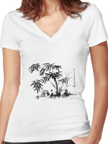 Bamboo in Water Women's Fitted V-Neck T-Shirt