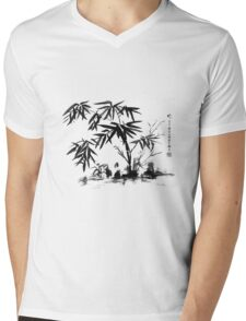 Bamboo in Water Mens V-Neck T-Shirt