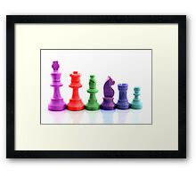 Colourful chess pieces Framed Print