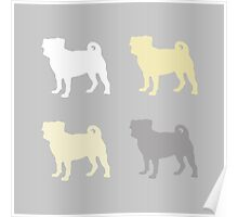 Grey and yellow Pugs Pattern Poster