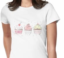 Sweet Cupcakes illustration Womens Fitted T-Shirt