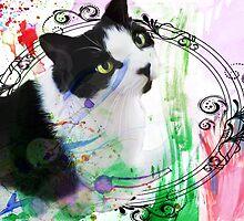 Fancy Painterly Cat [Blank, Transparent] by CiipherZer0