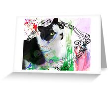 Fancy Painterly Cat [Blank, Transparent] Greeting Card