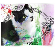 Fancy Painterly Cat [Blank, Transparent] Poster
