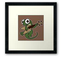 lizard lézard music cartoon fun bass guitar Framed Print