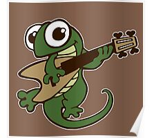 lizard lézard music cartoon fun bass guitar Poster