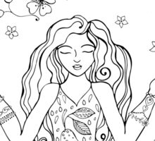 yoga coloring greeting card Sticker