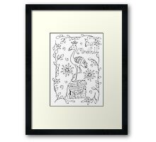 yoga coloring greeting card Framed Print