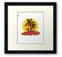 Hawaii Island Palm Tree Sunset Aloha Holidays T-Shirt  Framed Print