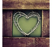 Barbed wire heart. Photographic Print