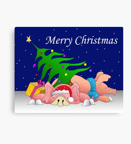 Pigs with tree and presents waiting for Christmas  Canvas Print