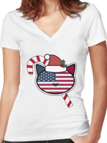 U.S.A. Candy Cane Women's Fitted V-Neck T-Shirt