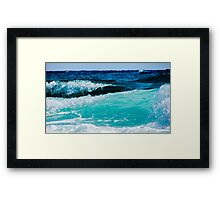 Aqua Ocean Waves Crashing on the Sea Shore Framed Print
