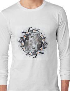 Cute little snowman in a circle Long Sleeve T-Shirt