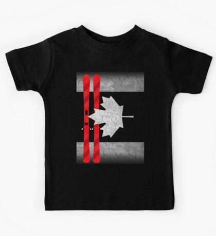 Canada Flag Ski Skiing  Kids Tee