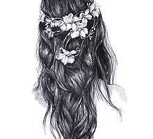 Flower Crown Girl Drawing by rbx11