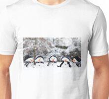 Five cute little snowman in a row Unisex T-Shirt