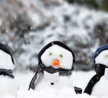 Five cute little snowman in a row Sticker