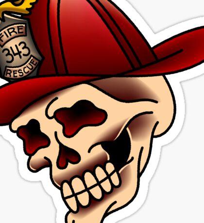 Traditional firefighter skull design Sticker