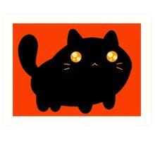 Silly Black Cat Art Print