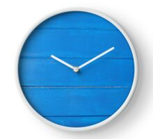 Bright Blue Rough Wood Effect Wooden Boards Texture Clock