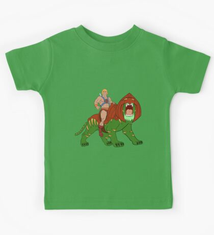 He-man and BattleCat Filmation Style Kids Tee