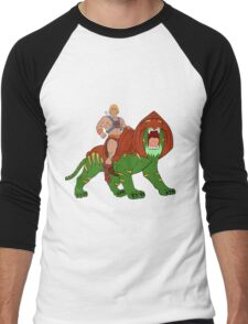He-man and BattleCat Filmation Style Men's Baseball ¾ T-Shirt