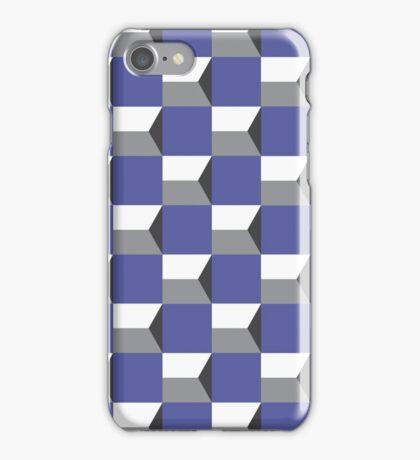 Geometric purple and grey 70s pattern iPhone Case/Skin
