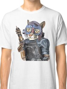 Naughty Pilot Cat with Laser Gun and Heavy Armor Classic T-Shirt
