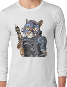 Naughty Pilot Cat with Laser Gun and Heavy Armor Long Sleeve T-Shirt