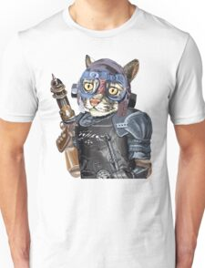 Naughty Pilot Cat with Laser Gun and Heavy Armor Unisex T-Shirt