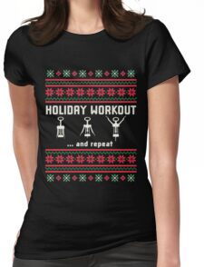 Funny Fitness Stickers - Christmas Workout T-shirts Womens Fitted T-Shirt