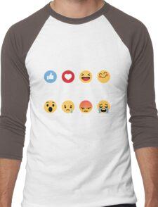 I Love Softball Emoji Emoticon Men's Baseball ¾ T-Shirt