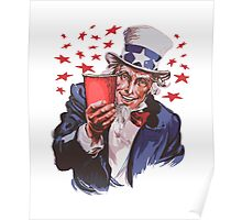 Uncle Sam Solo Cup T-Shirt - College Party Drinking Alcohol Poster