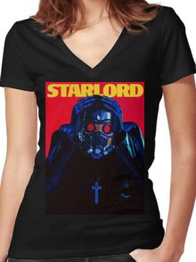 Starboy....I mean StarLord... Women's Fitted V-Neck T-Shirt