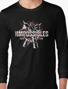 The Impossibles Logo w/ Robot - White and Red Long Sleeve T-Shirt