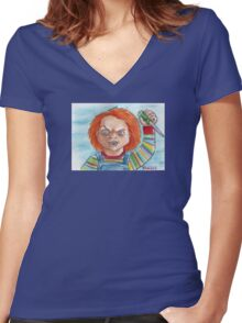 Hi, I'm Chucky. Wanna play? Women's Fitted V-Neck T-Shirt