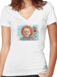 Hi, I'm Chucky. Wanna play? Women's Fitted V-Neck T-Shirt