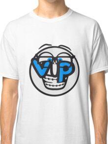 gesicht rund kreis smile nerd geek hornbrille schlau intelligent lustig freunde team crew party feiern comic cartoon cool vip wichtig very importent person design  Classic T-Shirt
