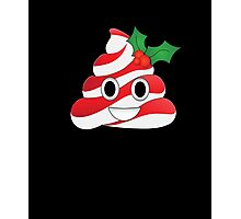 Funny Holly Poop Emoji Striped Candy Cane Christmas T-Shirt  Photographic Print