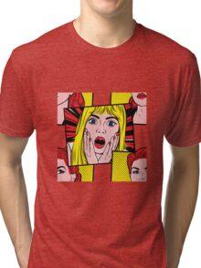 Pop Art Surprised Girl Tri-blend T-Shirt