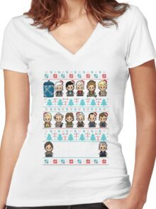 lil Doctor Who Christmas Jumper Women's Fitted V-Neck T-Shirt