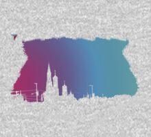 Neon Skyline Cityscape New York City NYC T-Shirt by Cyrca Originals One Piece - Short Sleeve