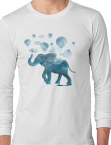 Magical Blue Elephant Long Sleeve T-Shirt