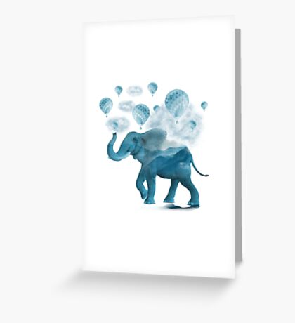 Magical Blue Elephant Greeting Card