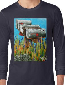 Rural Water Cooler Mail Mailbox Wildflowers Beautiful Country Long Sleeve T-Shirt