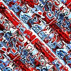 Red White And Blue Abstract by Phil Perkins