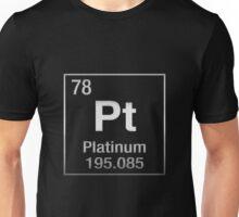 Periodic Table of Elements - Platinum - Pt - Platinum on Black Unisex T-Shirt