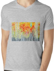 Autumn Aspen Trees Quaking Colorado Colorful Forest Mens V-Neck T-Shirt